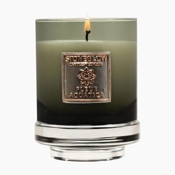 Stoneglow Metallique Fleur Aquatica Candle