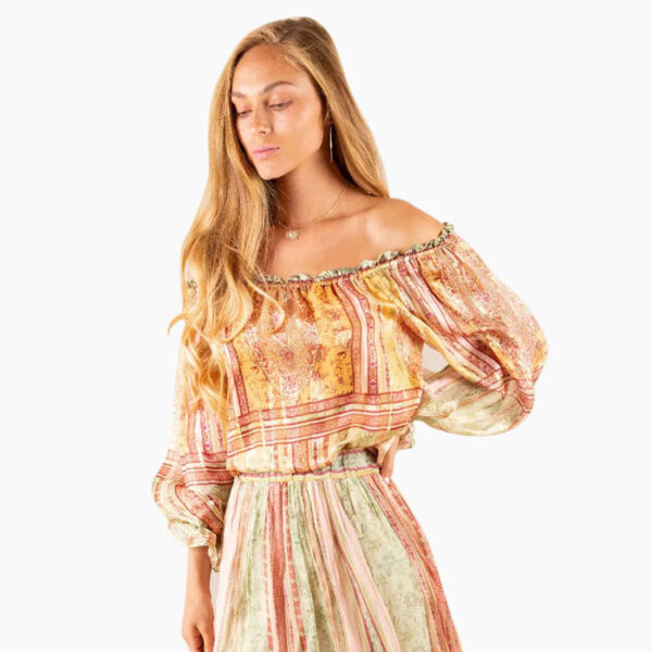 Model Wearing Hale Bob Vivianna Skirt and Hale Bob Lia Silk Lurex Off Shoulder Top