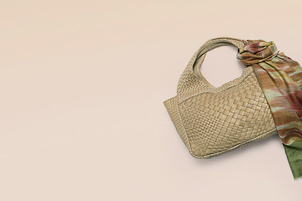 Pablo Lambskin Tote Bag and Ikat 100% cashmere hand woven scarf in olive and spice