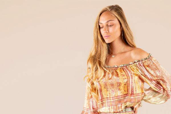 Model Wearing Hale Bob Lia Silk Lurex Off Shoulder Top
