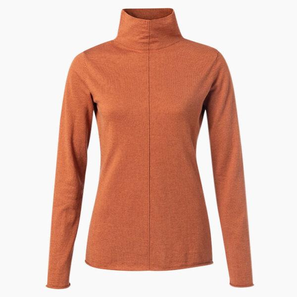 Model Wearing Yaya Knitted High Neck Top Light Rust Knitwear Jacket