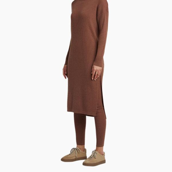 Model Wearing Yaya Wool Blend Rib Knitted Dress Cacao Brown Knitwear