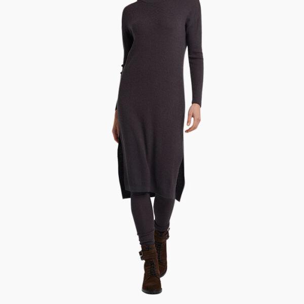 Model Wearing Yaya Wool Blend Rib Knitted Dress Phantom Knitwear