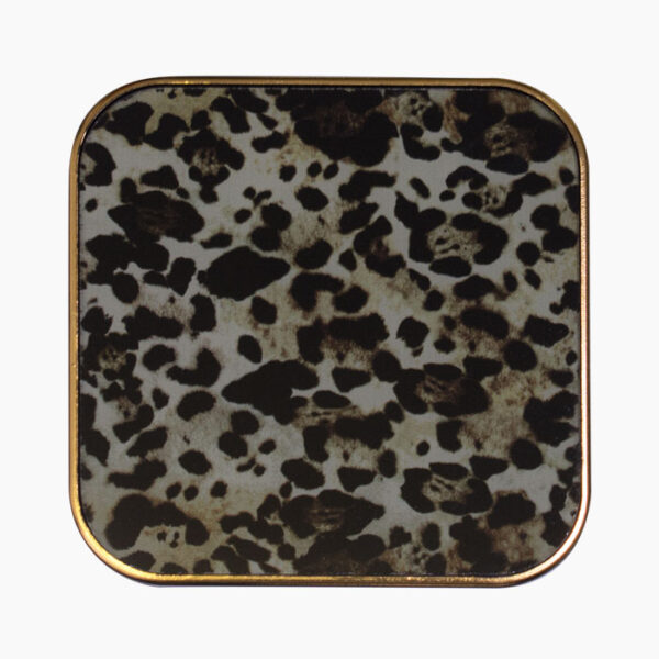 Set of 6 square cheetah glass coasters from The Secret Room Home