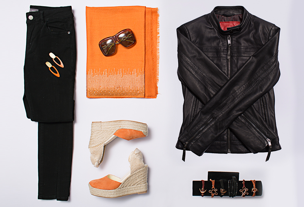 The Secret Room Boutique Mother's Day flat lay with warm spicy colours fashion accessories