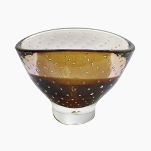 Polish Crystal glass bowl in amber from The Secret Room Home