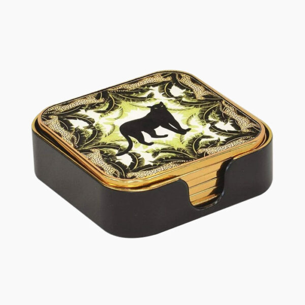 Set of 6 square panther glass coasters from The Secret Room Home