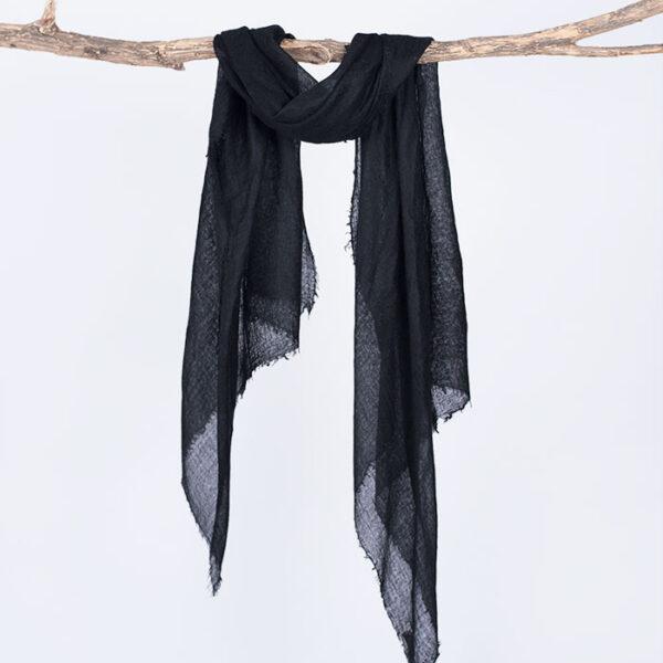 Wisp Black Pure Cashmere Semi Felted Shawl